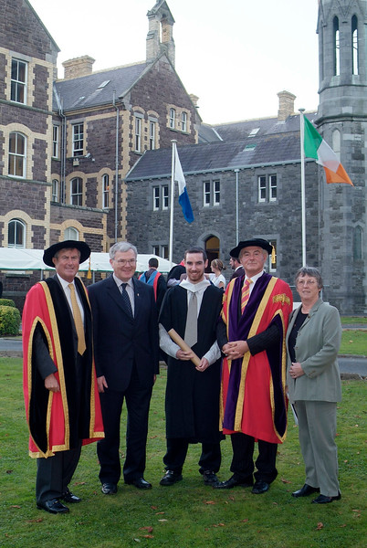 Conor Hogan of Clonmel was conferred with BSc in Architectural Technology at Waterford Institute of Technology, pictured with from left: Redmond O'Donoghue, Chairman, WIT; Con Hogan; Prof. Kieran R. Byrne, Director, WIT and Breda Hogan. (pic-photozone)