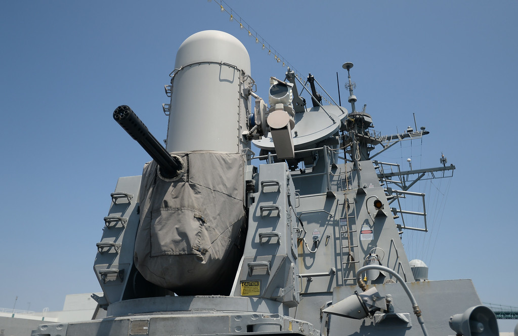 . People take a tour of the USS Spruance, an Arleigh Burke-class guided missile destroyer, which is docked in the Port of Los Angeles for Navy Days.   A radar controlled gun used in defense of the ship. Saturday, August 09, 2014, San Pedro, CA.   Photo by Steve McCrank/Daily Breeze