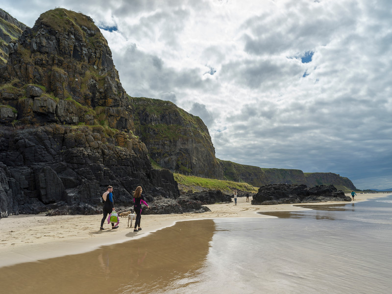 Tourists on the beach, Downhill Beach, Castlerock, Northern Island, United Kingdom