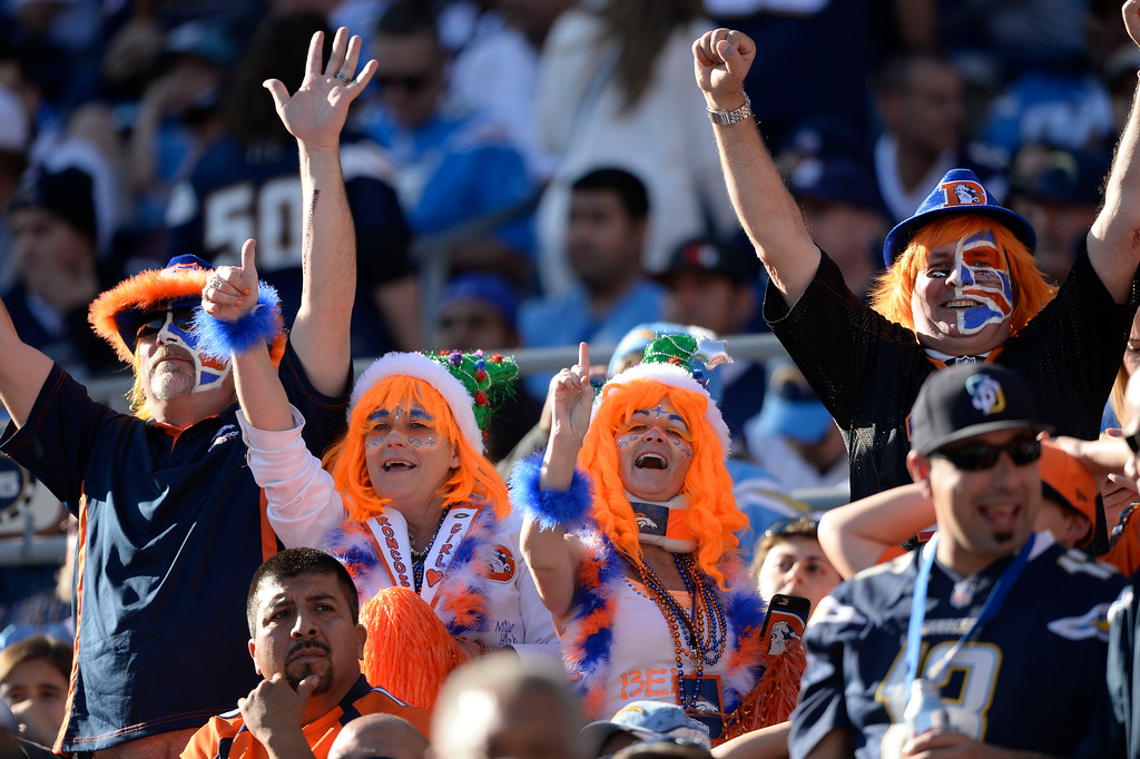 . SAN DIEGO, CA - DECEMBER 14: Denver Broncos fans cheer on during the second quarter agains the San Diego Chargers December 14, 2014 at Qualcomm Stadium (Photo By John Leyba/The Denver Post)
