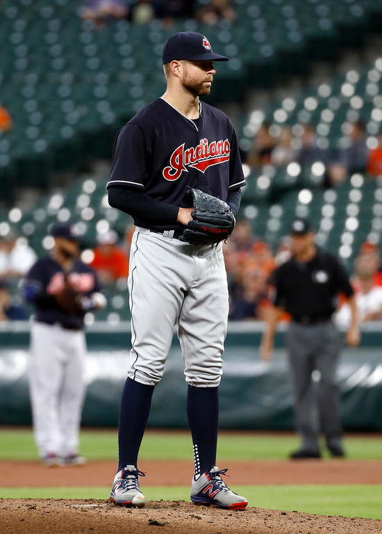 . Cleveland Indians starting pitcher Corey Kluber prepares to throw to the Baltimore Orioles during a baseball game in Baltimore, Monday, June 19, 2017. (AP Photo/Patrick Semansky)