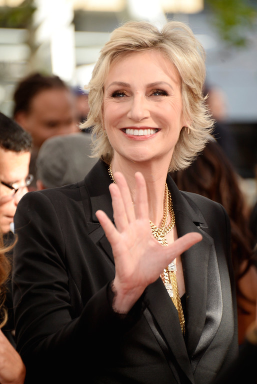 . Actress Jane Lynch arrives at the 65th Annual Primetime Emmy Awards held at Nokia Theatre L.A. Live on September 22, 2013 in Los Angeles, California.  (Photo by Frazer Harrison/Getty Images)