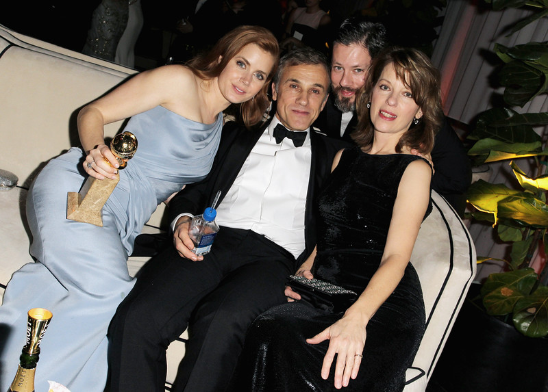 . Actress Amy Adams, actor Christophe Waltz, Darren Le Gallo, and Judith Holste attend The Weinstein Company & Netflix\'s 2015 Golden Globes After Party presented by FIJI Water, Lexus, Laura Mercier and Marie Claire at The Beverly Hilton Hotel on January 11, 2015 in Beverly Hills, California.  (Photo by Rachel Murray/Getty Images for TWC)