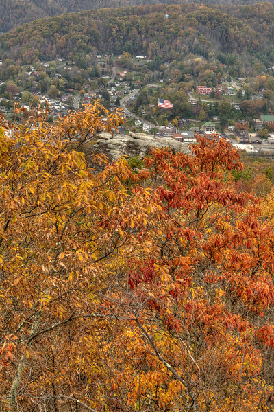 The flag flutters in the breeze while surrounded by brilliant fall colors at the Flag Rock Recreation Area in Norton, VA on Saturday, October 25, 2014. Copyright 2014 Jason Barnette