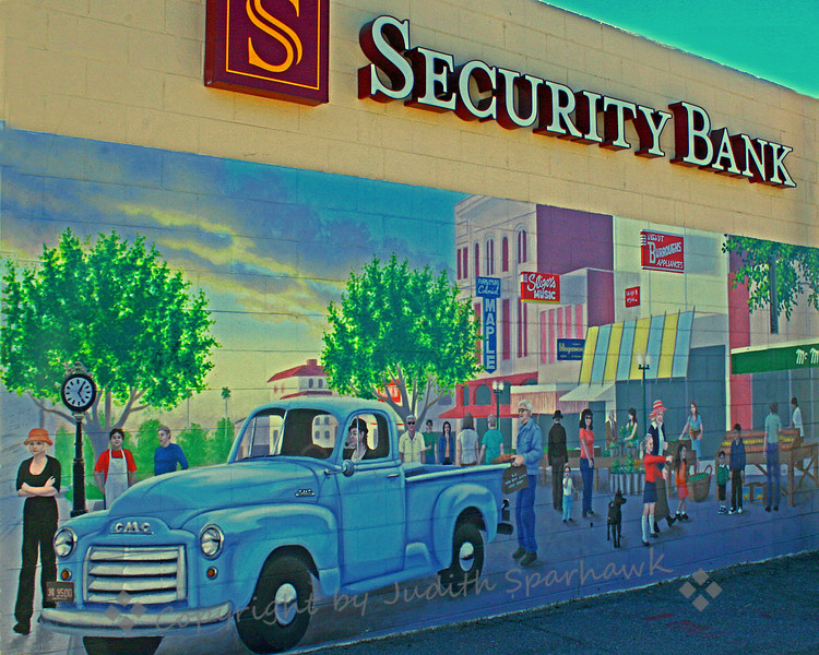 Old Time Redlands Scene ~ Mural on the back of the Security Bank building.  Mural painted by local muralist, Christine Curry.