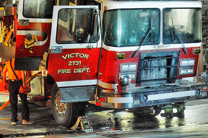 Victor firefighters quickly extinguished a fire inside their hall early Monday morning. Engine 2731 caught on fire but the damaged was contained to the truck.