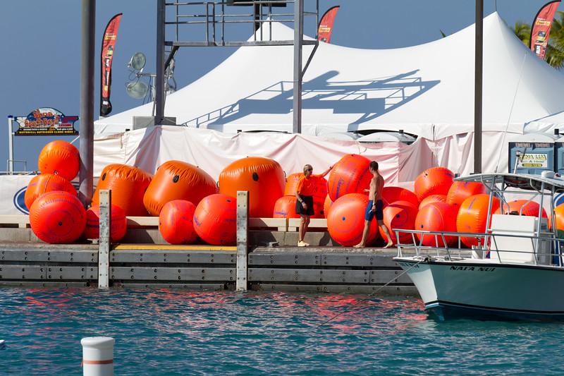 Swim buoys ready to go out