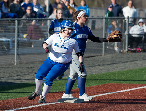 04/03/19 Wesley Bunnell | Staff Bristol Eastern softball defeated Plainville at Plainville High School on Wednesday afternoon. Sabrina Matthews (15) reaches third base on a throwing error.