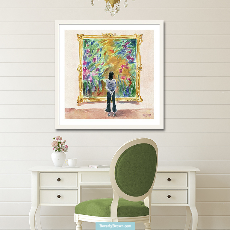 A white and green home office featuring a colorful French garden inspired framed art print by Beverly Brown - www.beverlybrown.com.