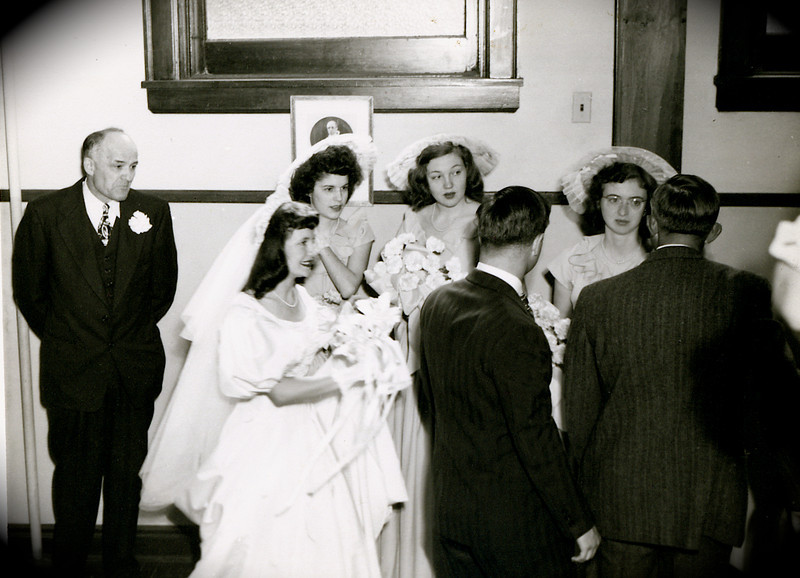 L to R: Charlie Rausch( Dodie's adoptive father), Dodie, Jane Harwig, Unknown lady, Rosemary Rausch, the guys are checking out the ladies.