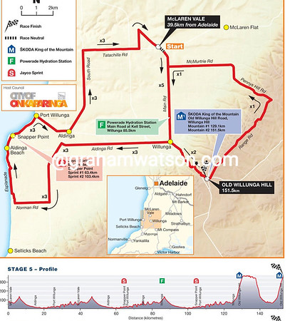 Stage 5 McLaren Vale > Old Willunga Hill, 151.5kms