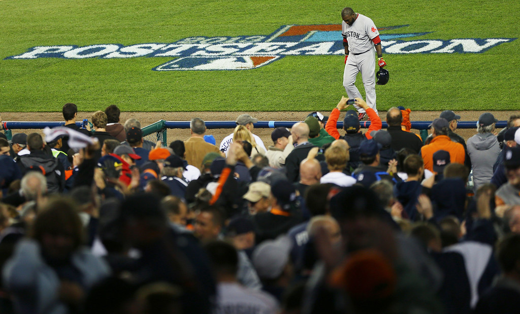 . David Ortiz #34 of the Boston Red Sox walks back to the dugout after they were defeated 7 to 3 by the Detroit Tigers in Game Four of the American League Championship Series at Comerica Park on October 16, 2013 in Detroit, Michigan.  (Photo by Mike Ehrmann/Getty Images)