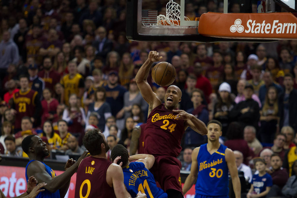 . Richard Jefferson (24) of the Cleveland Cavaliers dunks the ball over Klay Thompson (11) of the Golden State Warriors during an NBA game at the Quicken Loans Arena on Christmas day.  The Cavs defeated the Warriors 109-108.  Michael Johnson - The News Herald