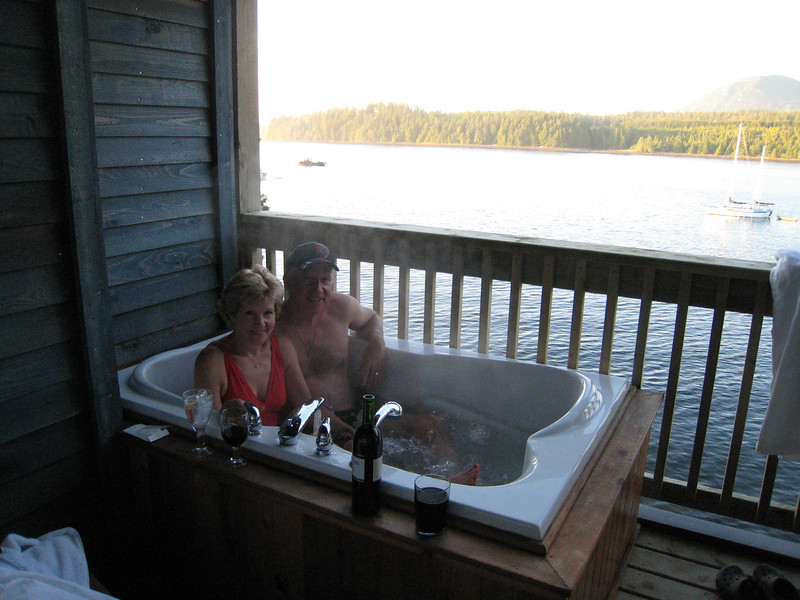 Mike and Linda in the hot tub on our balcony