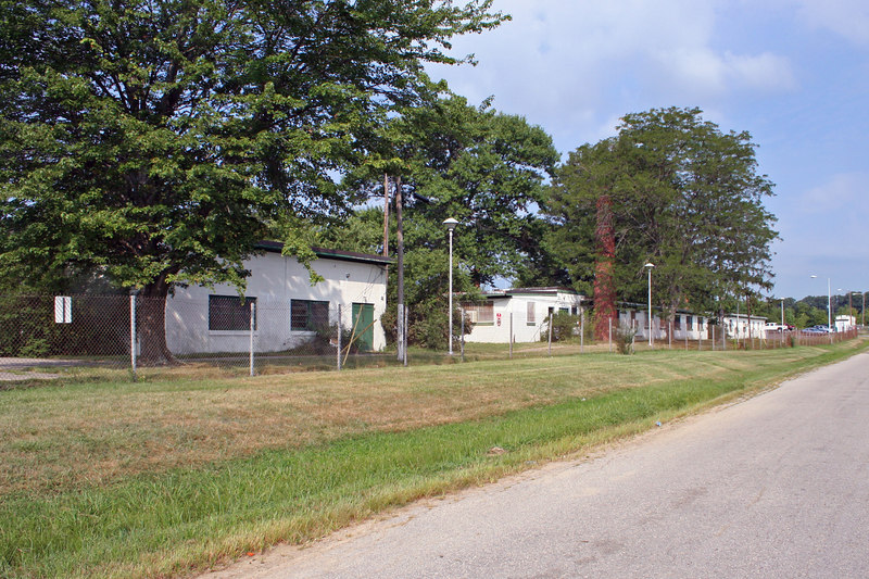 Fire Control and Administrative Area.  Troop barracks bldgs.
