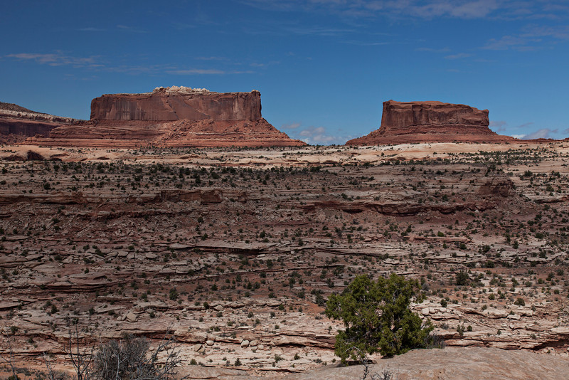 Monitor and Merrimack Buttes are composed of entrada sandstone and tower 600 ft above the Navajo sandstone base