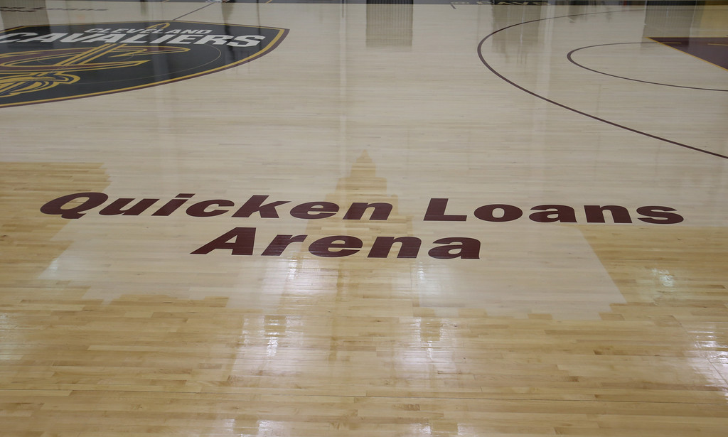 . �Quicken Loans Arena� can be read on each half court, and the east sideline features �Cavs.com� near the home bench with the team�s Twitter handle �@Cavs� at the visitor�s bench. (Courtesy Cleveland Cavaliers)