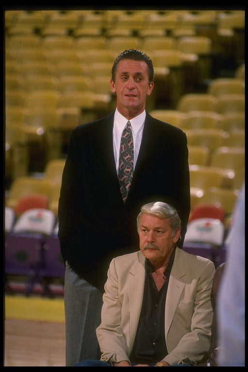 . 1989-1990:  Los Angeles Lakers head coach Pat Riley (left) poses with owner Jerry Boss. Mandatory Credit: Ken Levine  /Allsport