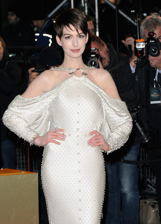 ". Actress Anne Hathaway attends the ""Les Miserables\"" World Premiere at the Odeon Leicester Square on December 5, 2012 in London, England.  (Photo by Stuart Wilson/Getty Images)"