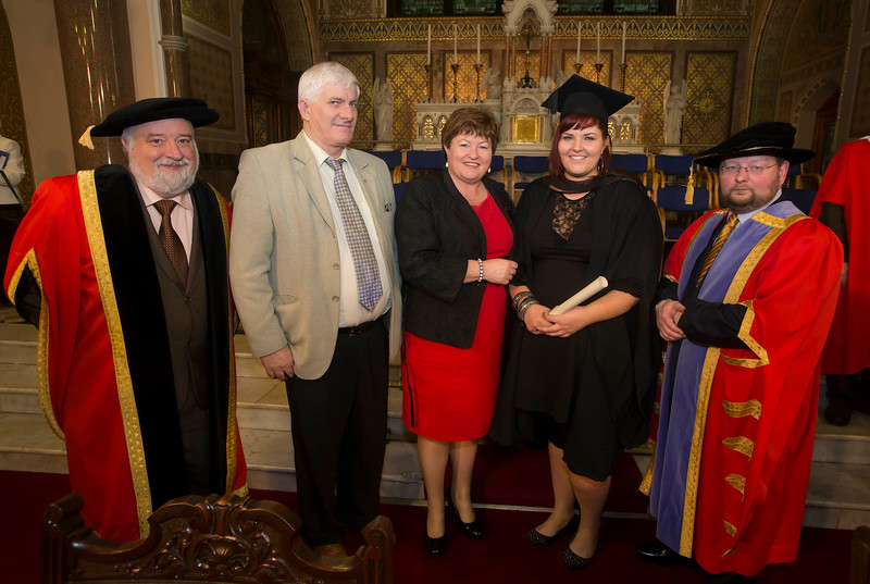 Pictured is Ciara Garde, Cork who graduated Bachelor of Arts (Hons) in Early Child Studies. Also pictured are Jack Walsh, Deputy Chairperson Govering body, Dr. Derek O'Byrne, Registrar of Waterford Institute of Technology (WIT) and Jim and Mary Garde. Picture: Patrick Browne.