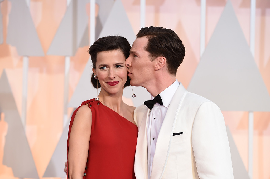 . Sophie Hunter, left, and Benedict Cumberbatch arrive at the Oscars on Sunday, Feb. 22, 2015, at the Dolby Theatre in Los Angeles. (Photo by Jordan Strauss/Invision/AP)