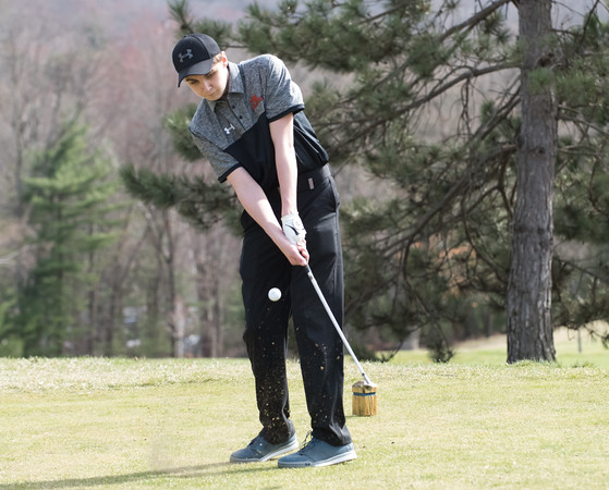 04/24/18 Wesley Bunnell | Staff Terryville boys golf team competed against Gilbert and Wamogo at Pequabuck Golf Club on Tuesday afternoon. Andrew McLaughlin