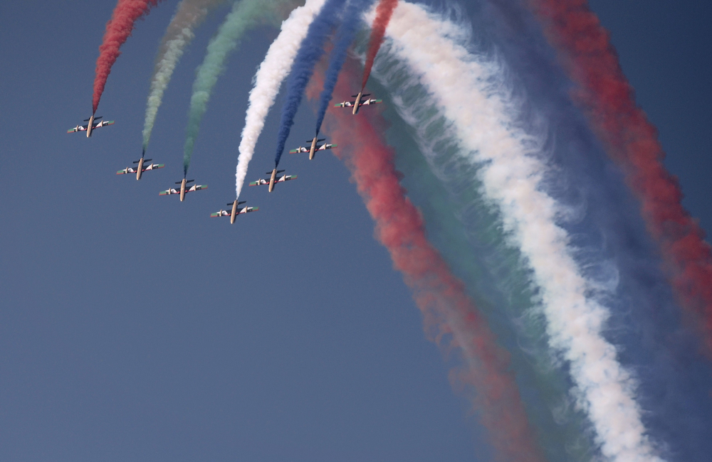 . UAE\'s Al-Fursan display team perform during the opening of the Bahrain International Airshow 2014, in Sakhir, south of the capital Manama, on January 16, 2014. (MOHAMMED AL-SHAIKH/AFP/Getty Images)