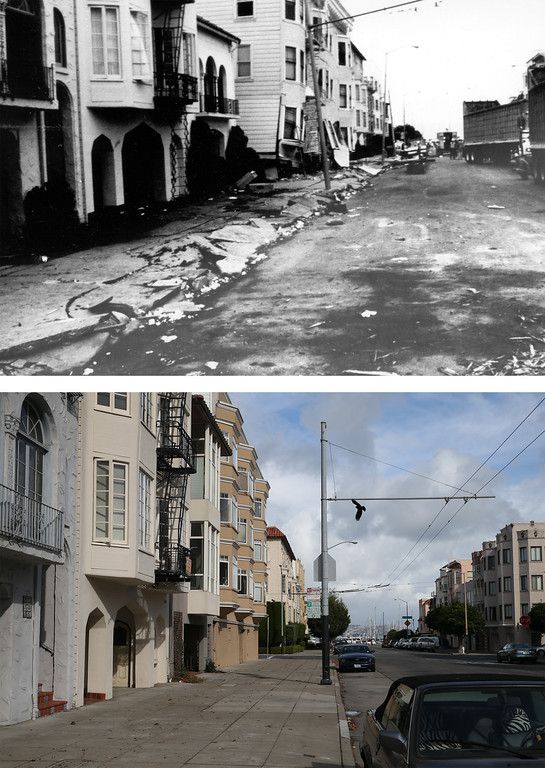 . SAN FRANCISCO, CA - OCTOBER 15: In this before-and-after composite image, (Top) A view of damaged homes along Divisadero Street following the Loma Prieta earthquake on October 17, 1989 in San Francisco, California. (Photo by G. Plafker/U.S. Geological Survey Photographic Library via Getty Images)   OAKLAND, CA - OCTOBER 15: (Bottom) A view looking north on Divisadero Street on October 15, 2014 in San Francisco, California. It has been 25 years since the 6.9 Loma Prieta earthquake rocked the San Francisco Bay Area at 5:04 PM on October 17, 1989 causing widespread damage to buildings and roadways. 63 people died and nearly 4,000 were injured. (Photo by Justin Sullivan/Getty Images)