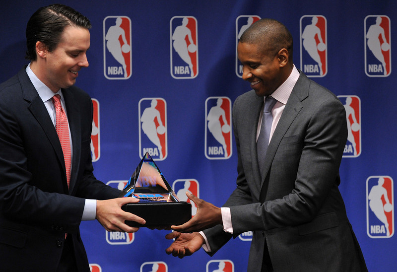 . Denver Nuggets president Josh Kroenke, left, and Denver Nuggets executive vice president of basketball operations Masai Ujiri celebrate that Ujiri has been named the 2012-13 NBA executive of the year at Pepsi Center, Denver, Colorado. May 9, 2013. (Photo By Hyoung Chang/The Denver Post)