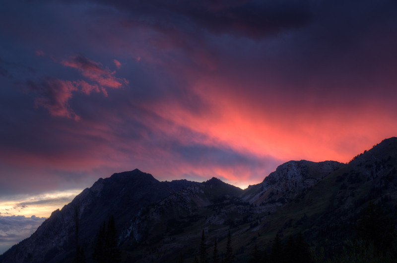 Fiery Sunset in the Mountains