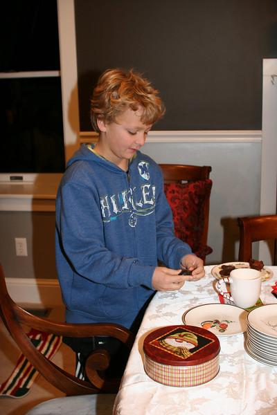 Wyatt preparing food for Santa and the reindeer