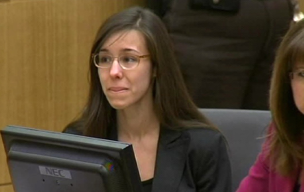 . In this image made from pool video provided by APTN, Jodi Arias reacts during the reading of the verdict at Maricopa County Superior Court in Phoenix, Wednesday, May 8, 2013. Arias was convicted of first-degree murder in the gruesome killing of her one-time boyfriend in Arizona after a four-month trial that captured headlines with lurid tales of sex, lies, religion and a salacious relationship that ended in a blood bath. (AP Photo/APTN, Pool)