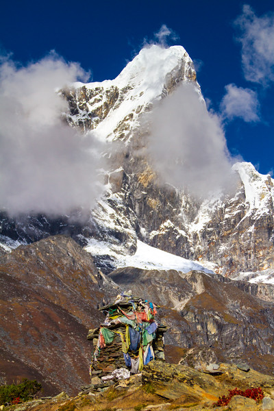 View of temple near snowcapped mountains - Nepal