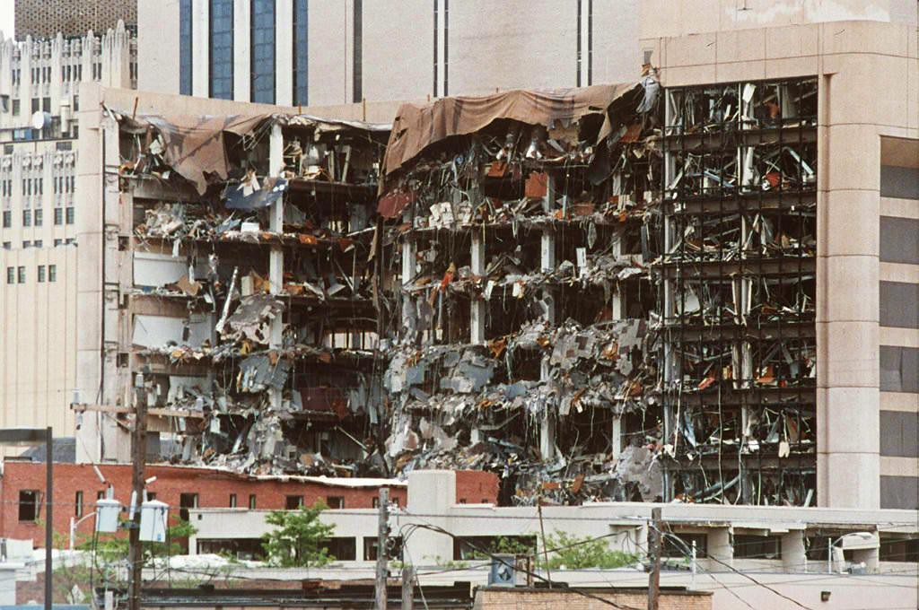 . This undated file photo shows the north side of the Alfred P. Murrah Federal Building in Oklahoma City, OK and the damage caused by a car bomb explosion 19 April 1995.  The jury found Timothy McVeigh guilty of the bombing and sentenced him to death 13 June.  (BOB DAEMMERICH/AFP/Getty Images)