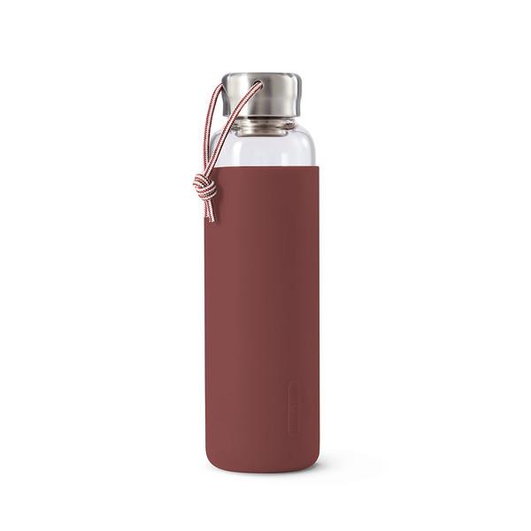 Glass Water Bottle burgundy Black Blum