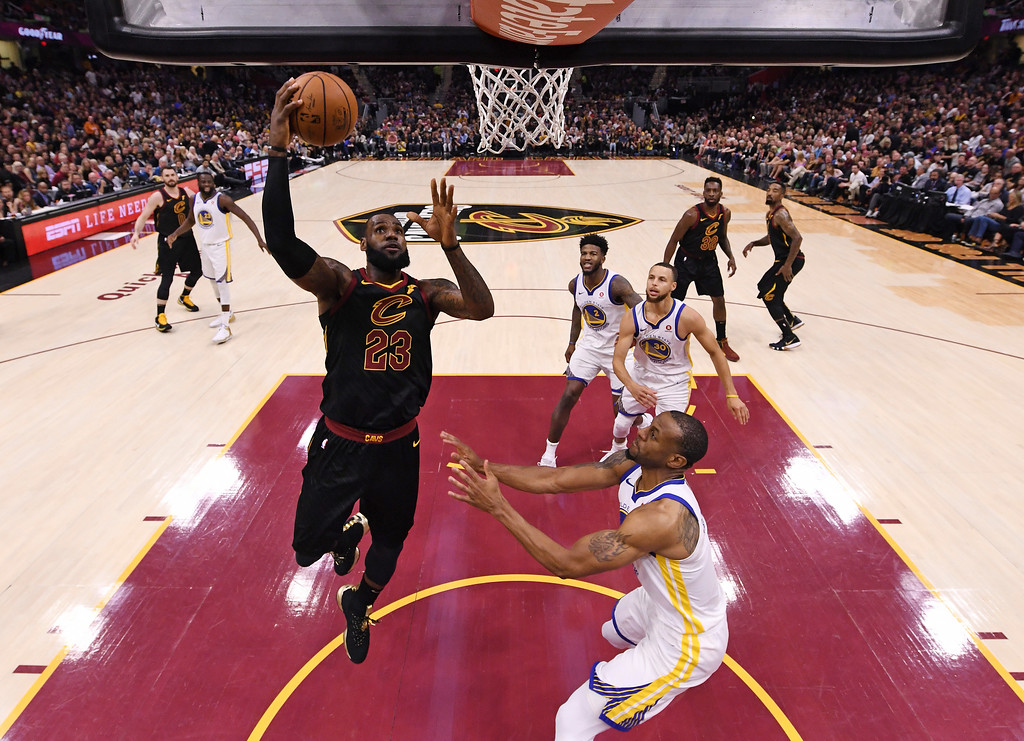 . Cleveland Cavaliers\' LeBron James shoots during the first half of Game 4 of basketball\'s NBA Finals against the Golden State Warriors, Friday, June 8, 2018, in Cleveland. (Gregory Shamus/Pool Photo via AP)