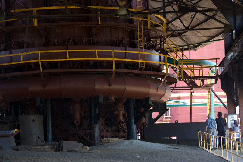 One of the huge blast furnaces where pig iron was made