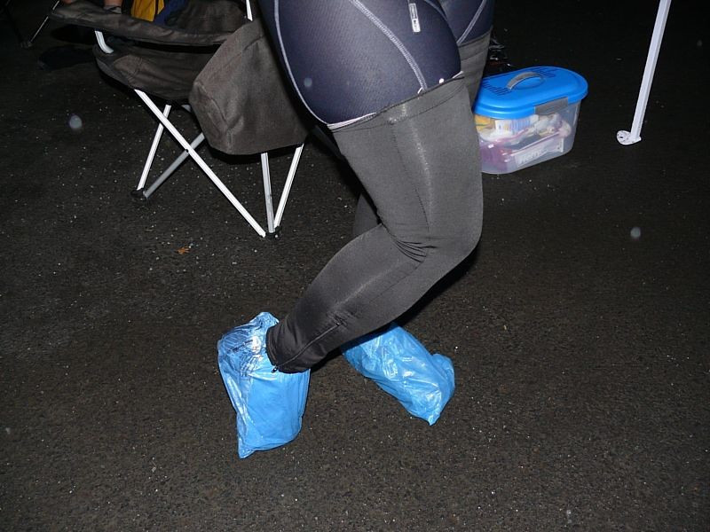 Blue bags make great booties to keep those feet dry.