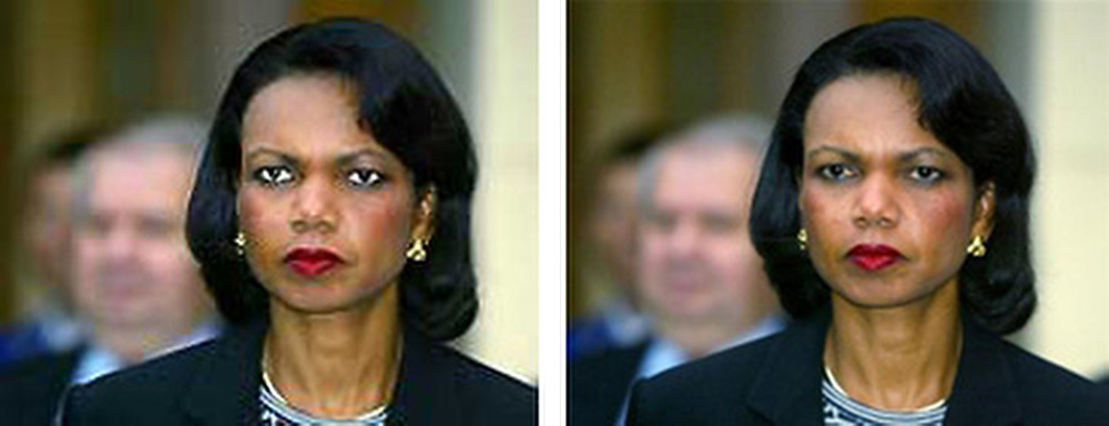 ". October 2005: This doctored photo of Secretary of State Condoleezza Rice appeared alongside a USA Today news story about Rice\'s comments to U.S. Lawmakers regarding U.S. Troops in Iraq. After receiving complaints from readers, this photograph was removed from USA Today\'s website, and the following Editor\'s note appeared alongside a ""properly adjusted copy\"": Photos published online are routinely cropped for size and adjusted for brightness and sharpness to optimize their appearance. In this case, after sharpening the photo for clarity, the editor brightened a portion of Rice\'s face, giving her eyes an unnatural appearance. This resulted in a distortion of the original not in keeping with our editorial standards.   SOURCE: http://www.cs.dartmouth.edu/farid/research/digitaltampering/"