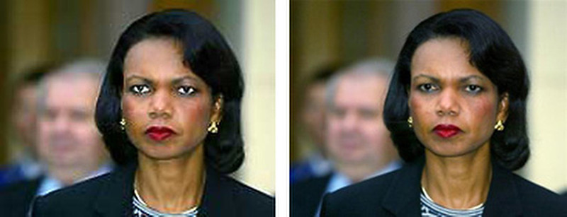 """. October 2005: This doctored photo of Secretary of State Condoleezza Rice appeared alongside a USA Today news story about Rice\'s comments to U.S. Lawmakers regarding U.S. Troops in Iraq. After receiving complaints from readers, this photograph was removed from USA Today\'s website, and the following Editor\'s note appeared alongside a \""""properly adjusted copy\"""": Photos published online are routinely cropped for size and adjusted for brightness and sharpness to optimize their appearance. In this case, after sharpening the photo for clarity, the editor brightened a portion of Rice\'s face, giving her eyes an unnatural appearance. This resulted in a distortion of the original not in keeping with our editorial standards.   SOURCE: http://www.cs.dartmouth.edu/farid/research/digitaltampering/"""