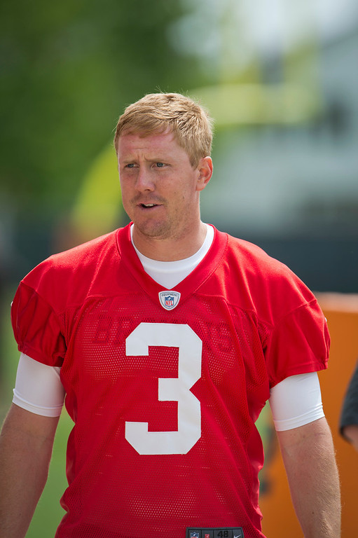 . Brandon Weeden, Oklahoma State Selected 22nd overall by the Browns in 2012 Like the three quarterbacks taken before him, Weeden started a majority of his team�s games his rookie season. The Browns quarterback, who will turn 30 during his second NFL season, passed for 3,385 yards, 14 touchdowns and 17 interceptions. GRADE: C-. His age suggests he�s a short-term stopgap at a position where Cleveland is in desperate need of a long-term answer. (Photo by Jason Miller/Getty Images)