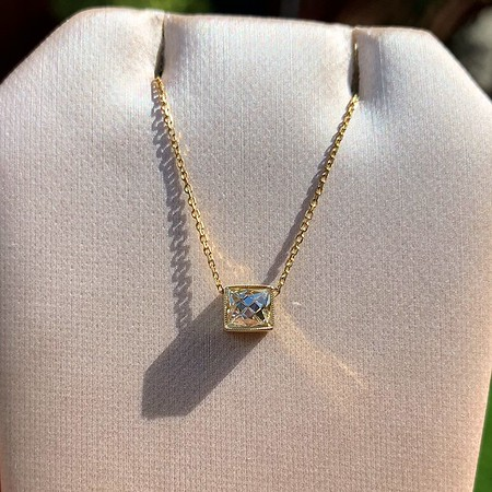 .70ct French Cut Diamond Bezel Pendant, 18kt yellow gold