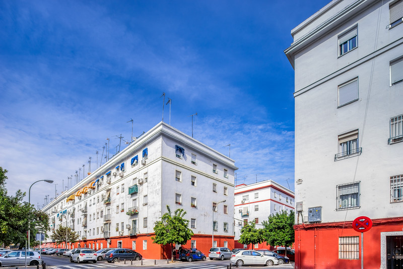 Apartment buildings raised in the 1950s for working class dwellers, El Tardón, Triana, Seville, Spain.