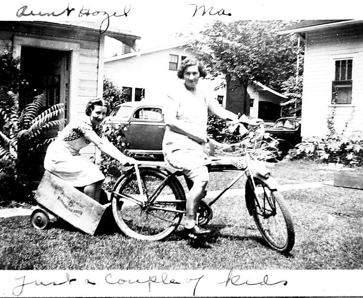 Grandma & Aunt Hazel horsing around.JPG