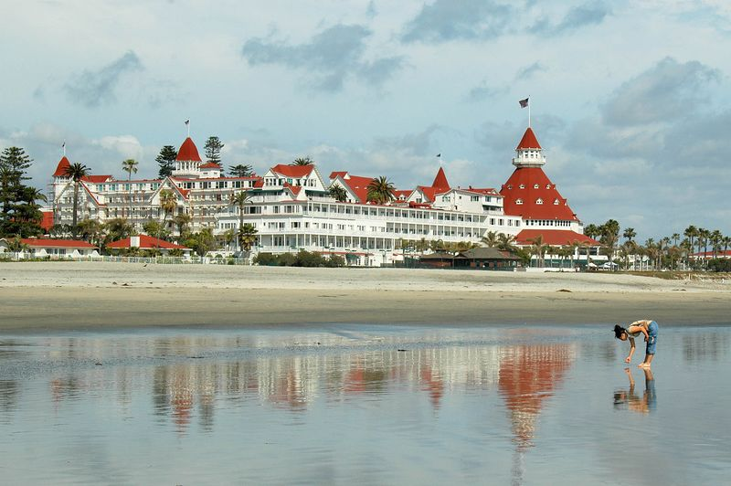 Looking back at the Hotel Del Coronado from the beach.
