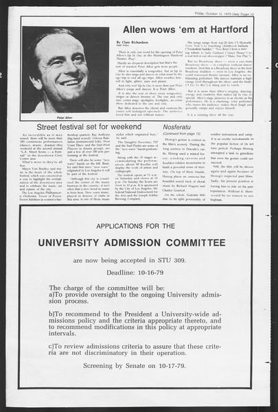 Daily Trojan, Vol. 87, No. 20, October 12, 1979