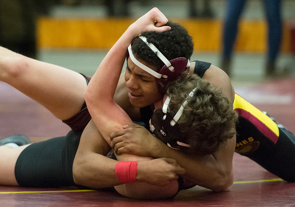 01/29/20 Wesley Bunnell | StaffrrNew Britain wrestling defeated Farmington on Senior Night on Wednesday January 29, 2020. Jouse Rosario wrestles at 145lbs.