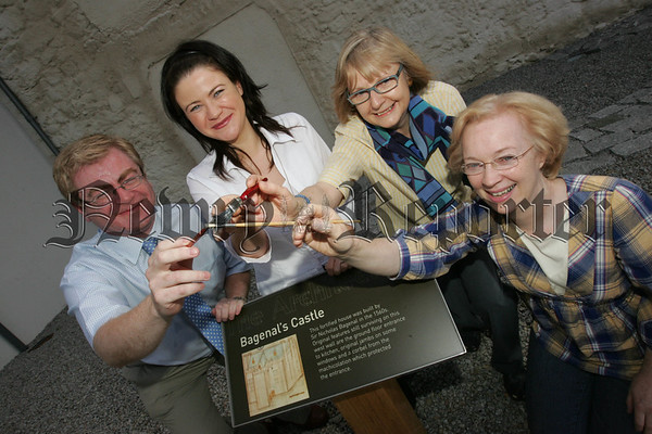 Dr Ken Abraham Assistant Curator at Newry Museum is joined by, Aveen McManus, Sheila Walsh and Cherith Fullerton at the launch of its summer workshop which will run from 29th July to 2nd September each Sunday. 07W30N9