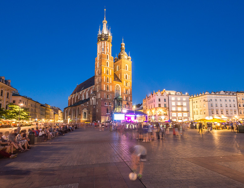 Ghost Boy and Ball on Rynek Square, Kraków, Poland