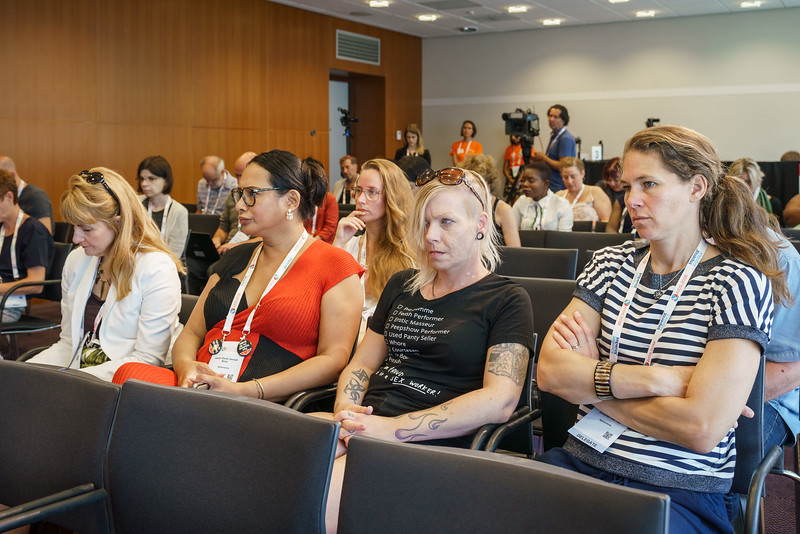 22nd International AIDS Conference (AIDS 2018) Amsterdam, Netherlands.   Copyright: Matthijs Immink/IAS  PRESS CONFERENCE Sex Workers & End Demand Policies  On the photo: proud